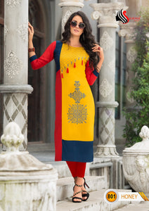 Designer Kurtis Wholesale Catalogue Honey Vol. 8 - Textile And Handicraft