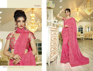 Embroidery Sarees Wholesale - Fancy Sarees embellished with laces and sequence work.