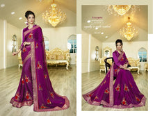 Load image into Gallery viewer, Embroidery Sarees Wholesale - Fancy Sarees embellished with laces and sequence work.