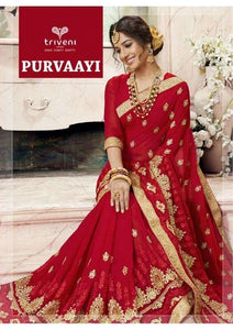 Purvaayi Georgette Sarees Wholesale Catalog - Textile And Handicraft