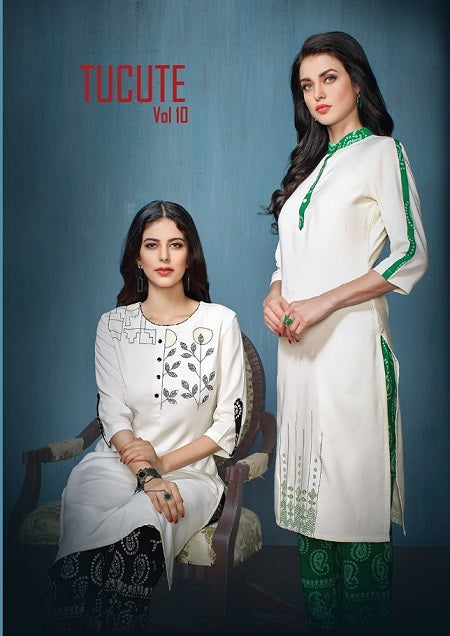 Tucute Vol. 10 Cotton Salwar Kameez Catalogue - White Kurti with printed bottom
