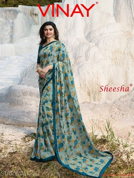 Floral printed Georgette Sarees Wholesale Catalog Online