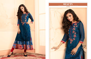 Designer Kurtis Wholesale Catalogue Luxurious - Textile And Handicraft