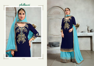 Phillauri Vol - 17-Heavy Georgette Plazo Suit with Coding and Hand work - Textile And Handicraft