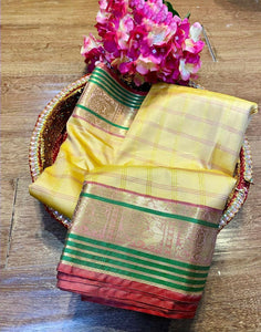 KUSUM SILK- BEAUTIFUL SOFT PURE BANARASI SILK Paithani STYLE SAREE WITH BEAUTIFUL  WEAVING RICH PALLU( SET OF 8) - Textile And Handicraft