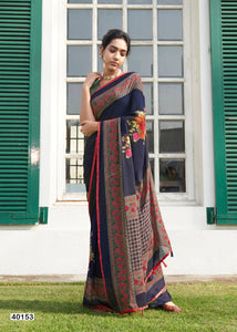 GEHNA-DIGITAL PRINT FLORAL DESIGN GEORGETTE SAREE(SET OF 12) - Textile And Handicraft