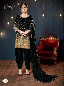 AANAYA VOL-80, DESIGNER SILK SUIT WITH GLASS AND CUT PEARLS WORK - Textile And Handicraft