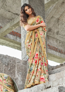 NATASHA- FLORAL PRINT SAREE WITH JAQUARD BORDER( SET OF 12)