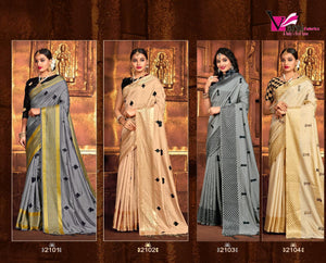 VARNI- CHESS CARD SANA SILK SAREE WITH EMBROIDERY ( SET OF 4)