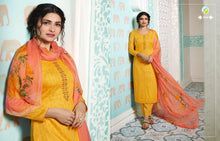 KERVIN-AARUSHI, COTTON SATIN SUIT WITH CHIFFON DUPATTA/ THREAD EMBROIDERY WORK WITH DIGITAL PRINT( SET OF 8)  catalogue