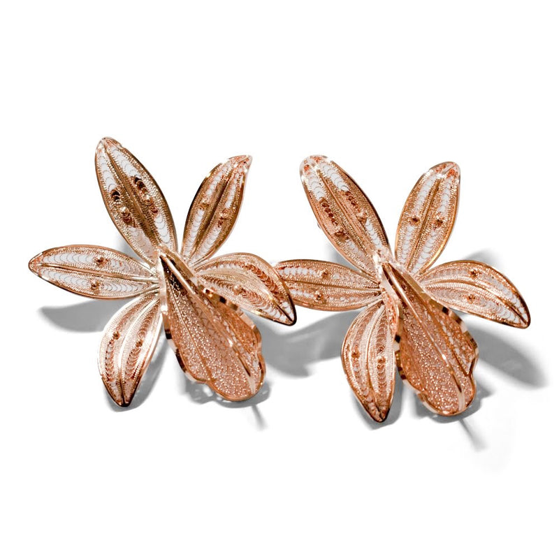 Rose Gold Toned Filigree Earrings Magnolia