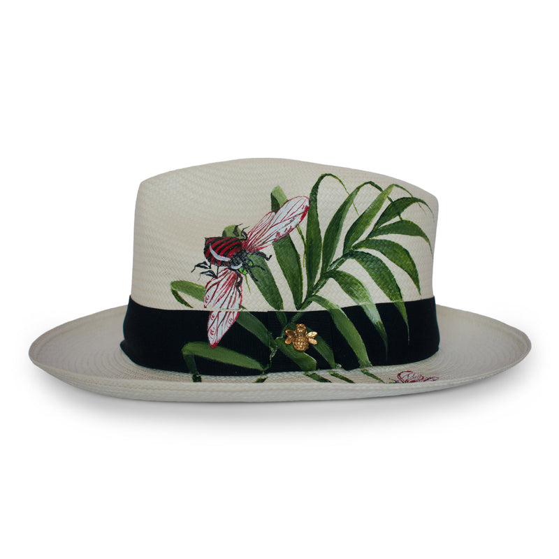 Handmade Panama Hat Foliage and Bees