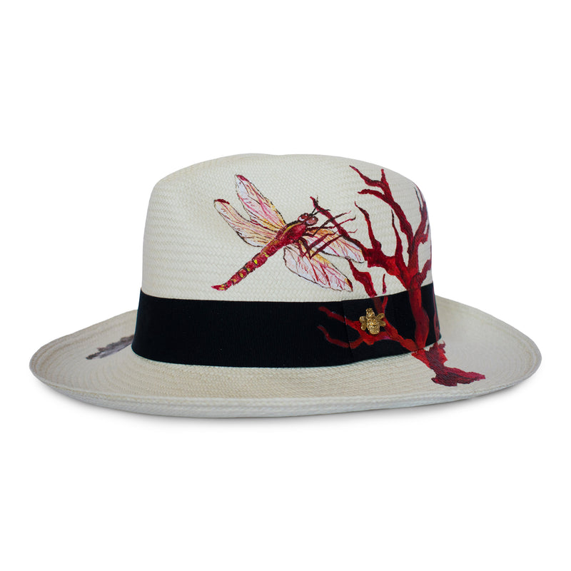 Handmade Panama Hat Red Dragonfly