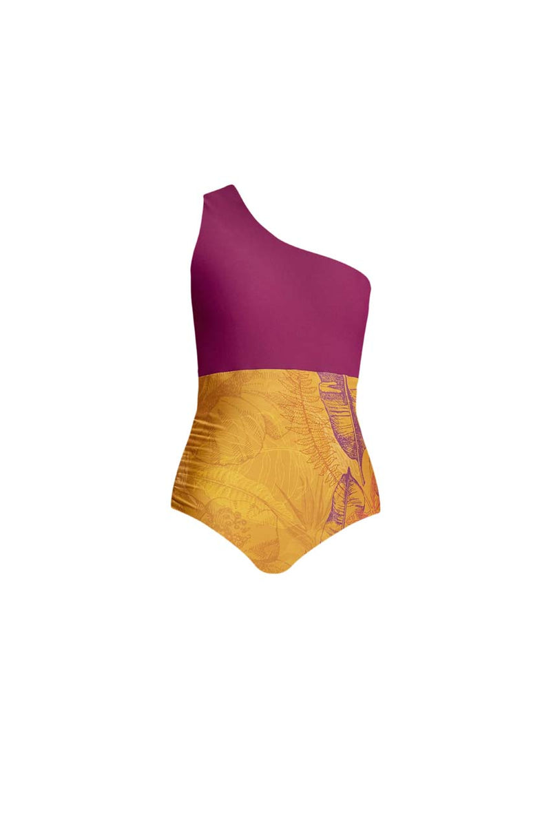 Tangara Purple & Yellow Bird Print Swimsuit