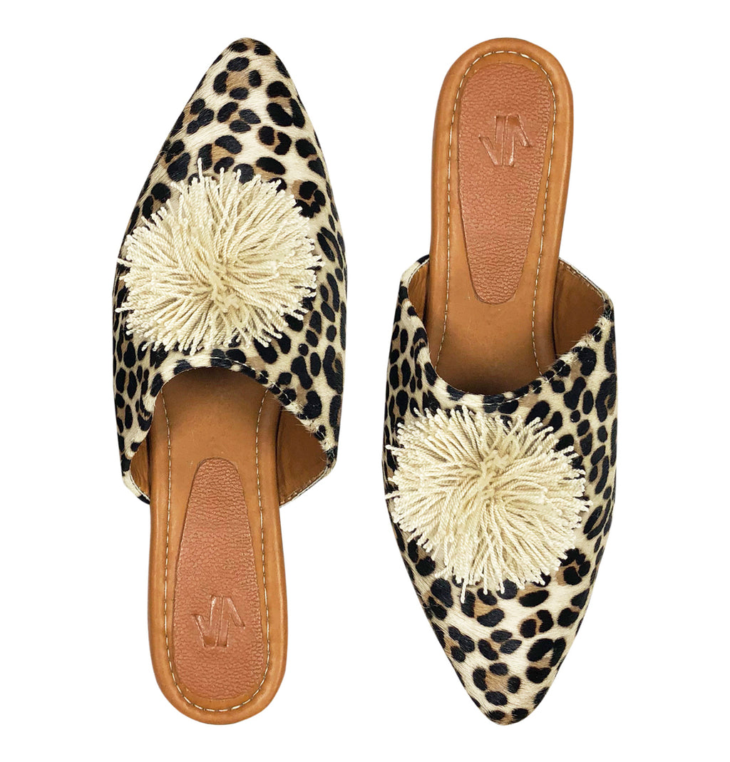 Animal Print Flat Mules with Pom Pom