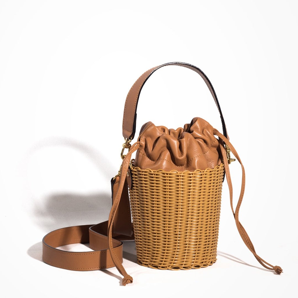Tan Leather Cesta Bucket Bag