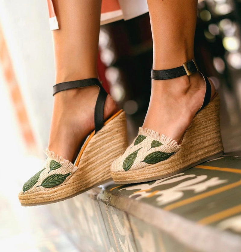 Espadrilles Sandal Green Leaves Son
