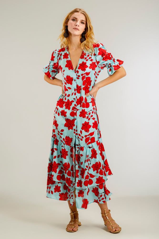Floral Print Dress Red Delirio