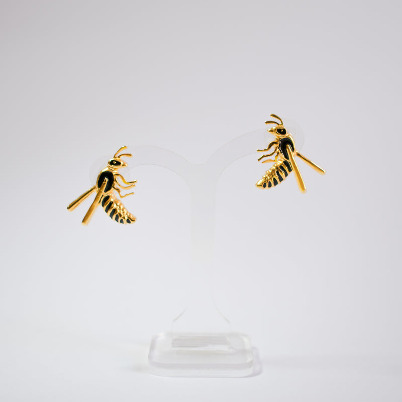 Insect Enamel Earrings Wasp