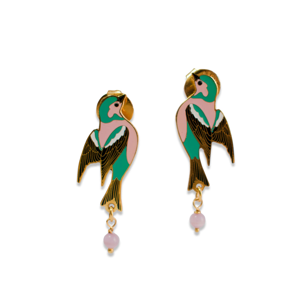 Bird Enamel Earrings Mini Sparrow