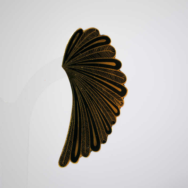 Wing Enamel Earrings Black