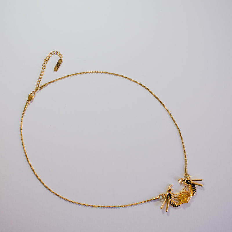 Golden Necklace with Wasp Enamel Pendant