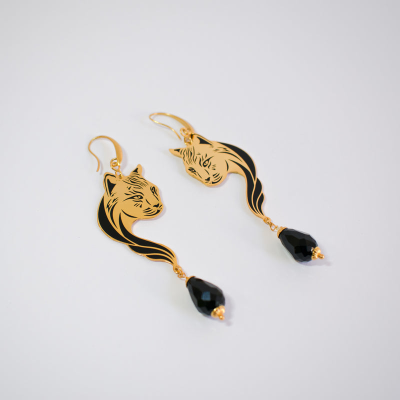 Black Enamel Earrings Lynxes