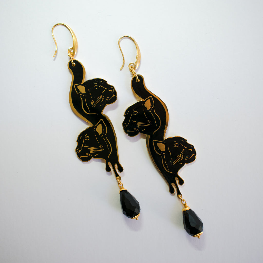 Black Enamel Earrings Panther