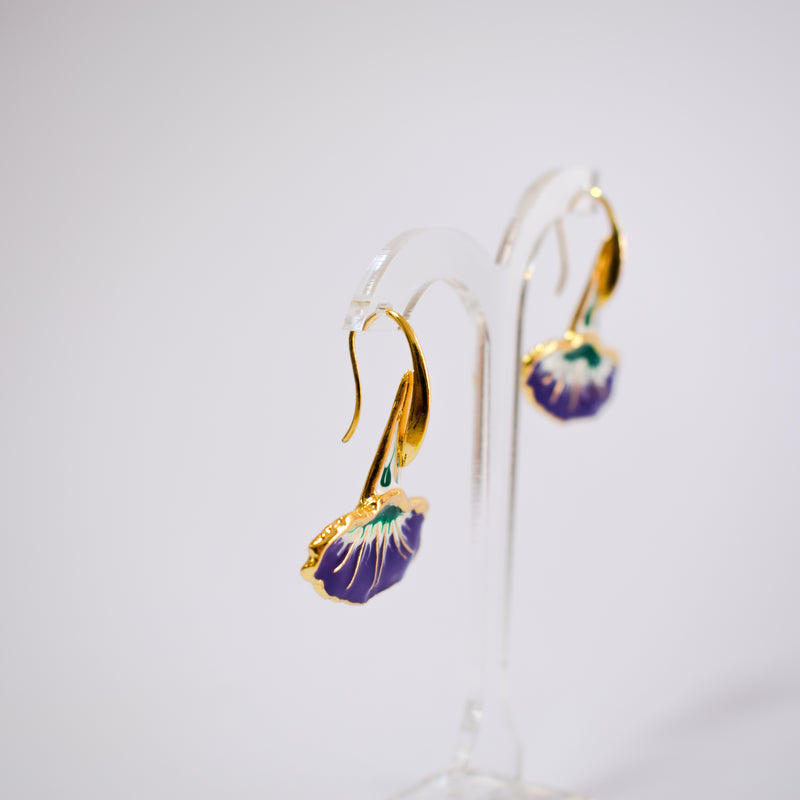 Flower Enamel Earrings Purple
