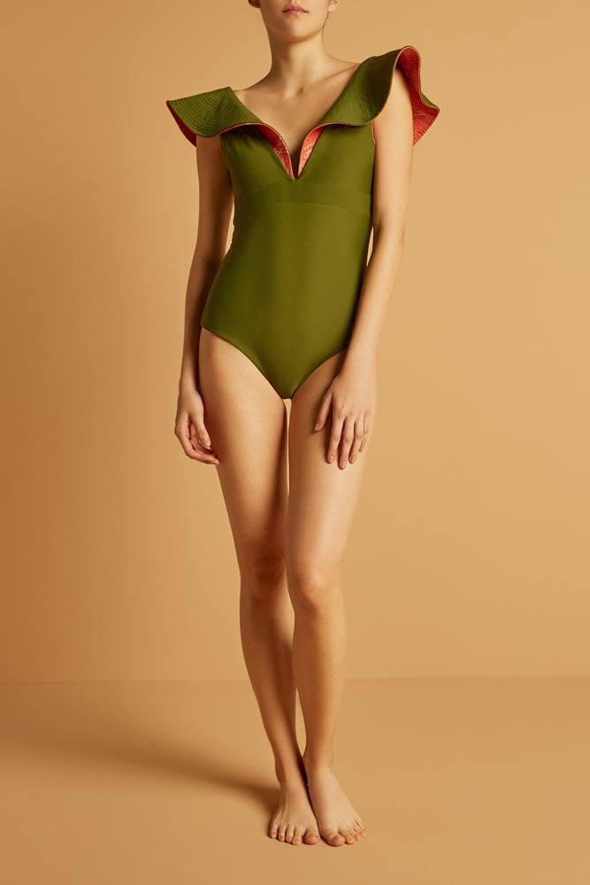 Quetzal One Piece Orange & Olive Green Swimsuit