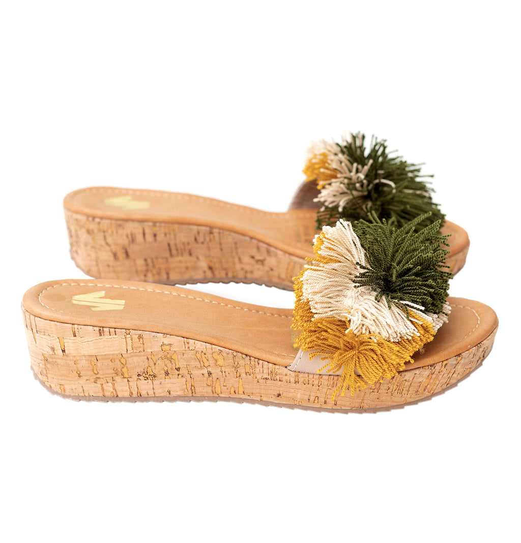 Wedges Sandal with Green Fringe