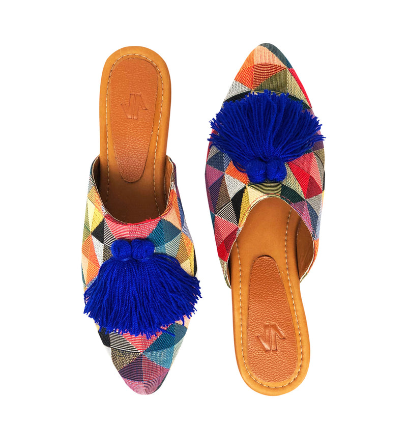 Embroidered Flat Mules with Tassels