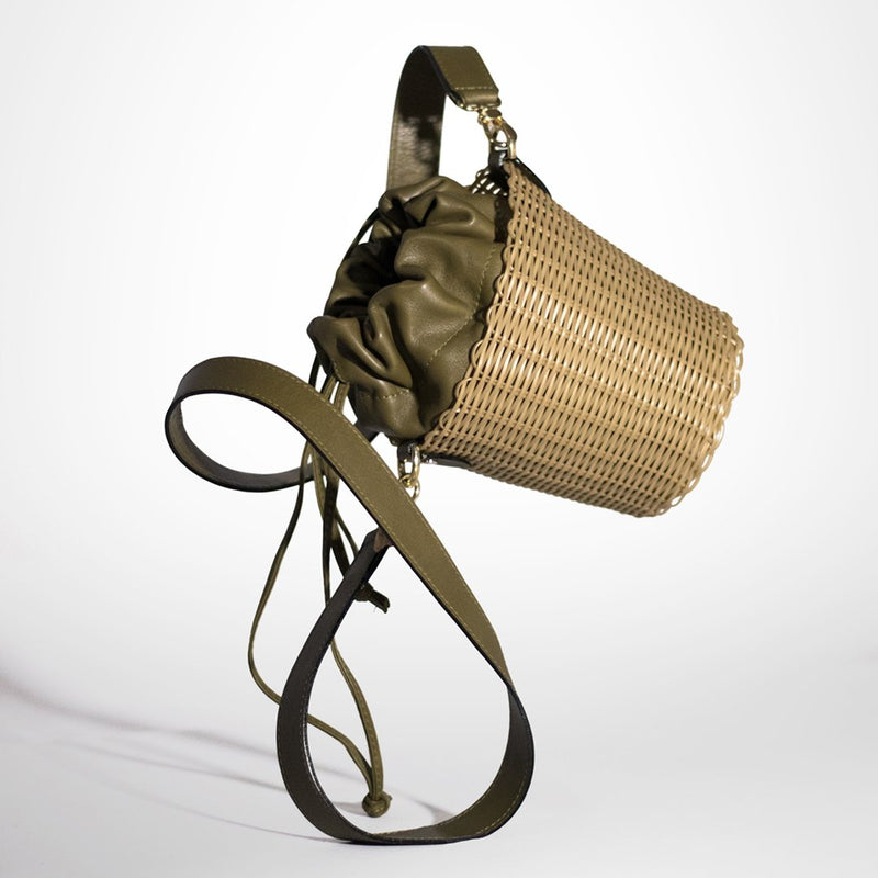 Olive Green Leather Bucket Bag