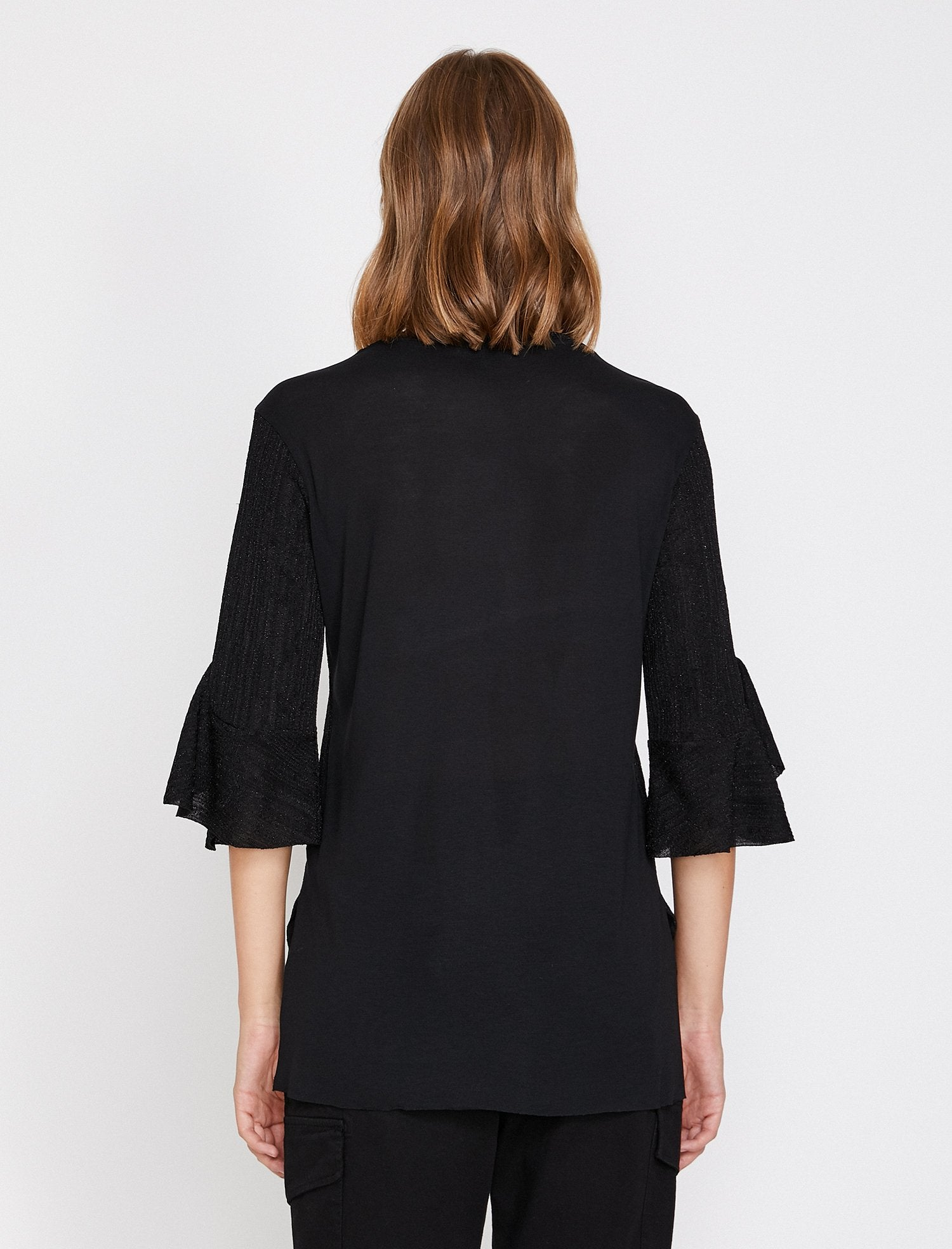 Shimmered Ruffle Sleeve Blouse in Black