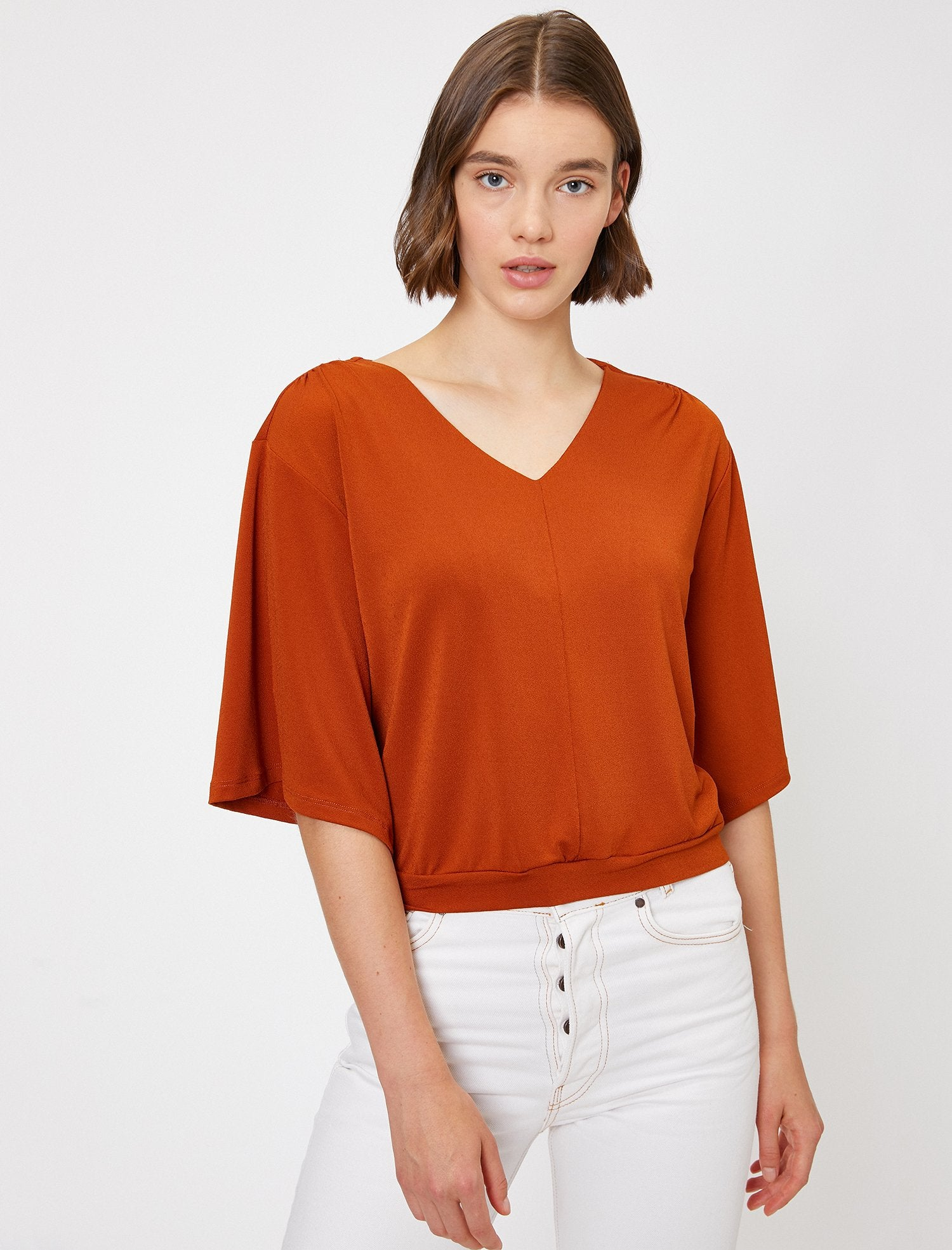 Wide Sleeve Blouse in Red Clay