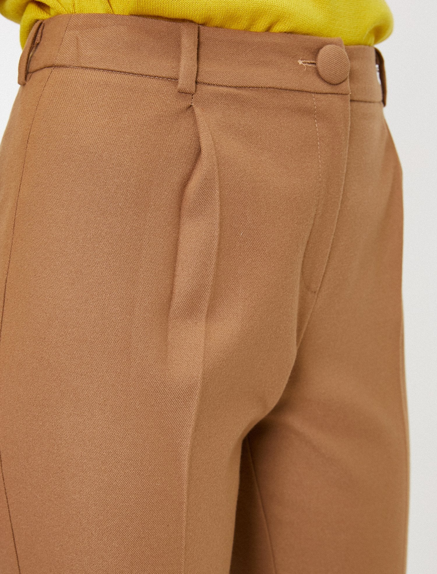 Pleated Cropped Pants in Camel