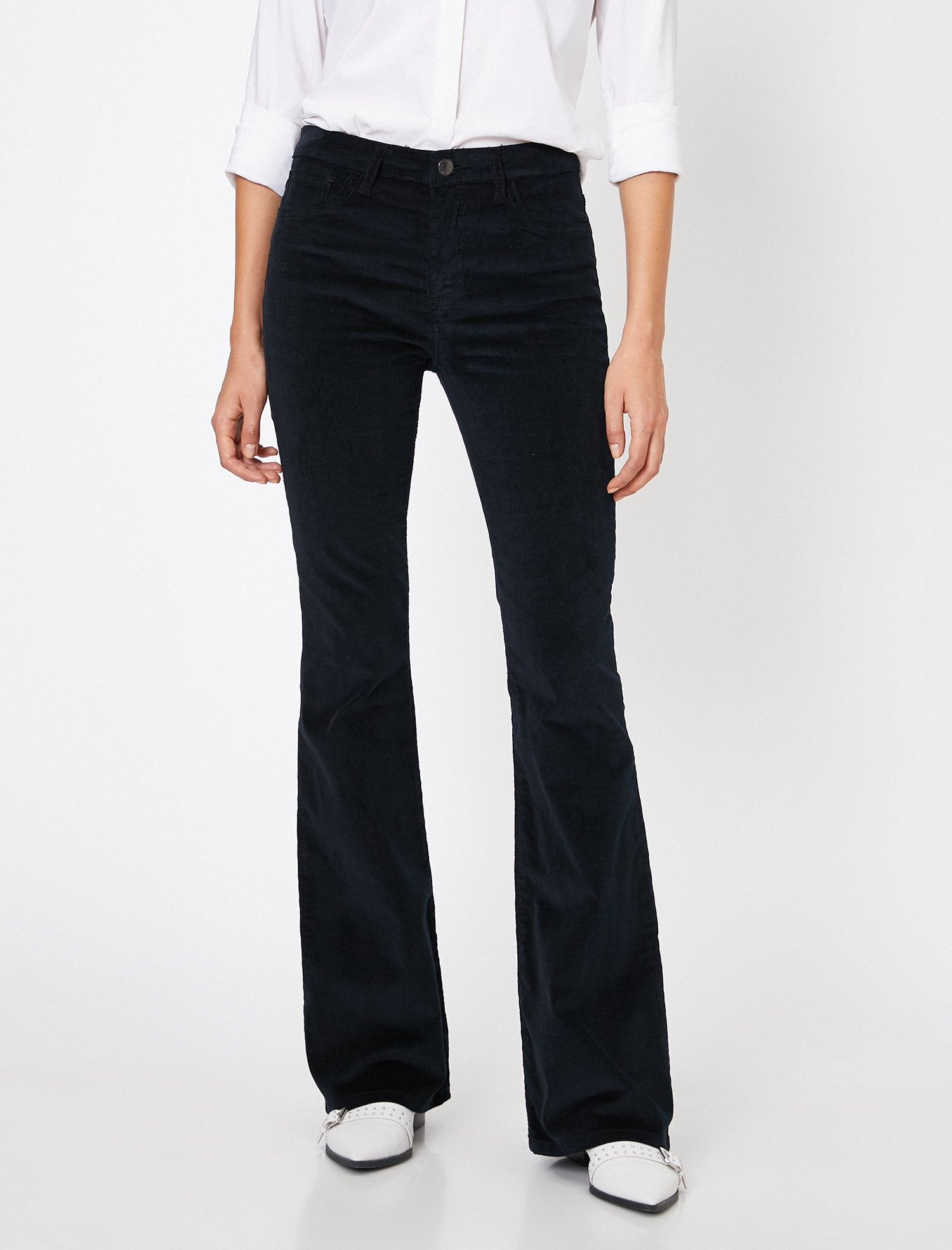 Corduroy Flare Cut Pants in Black