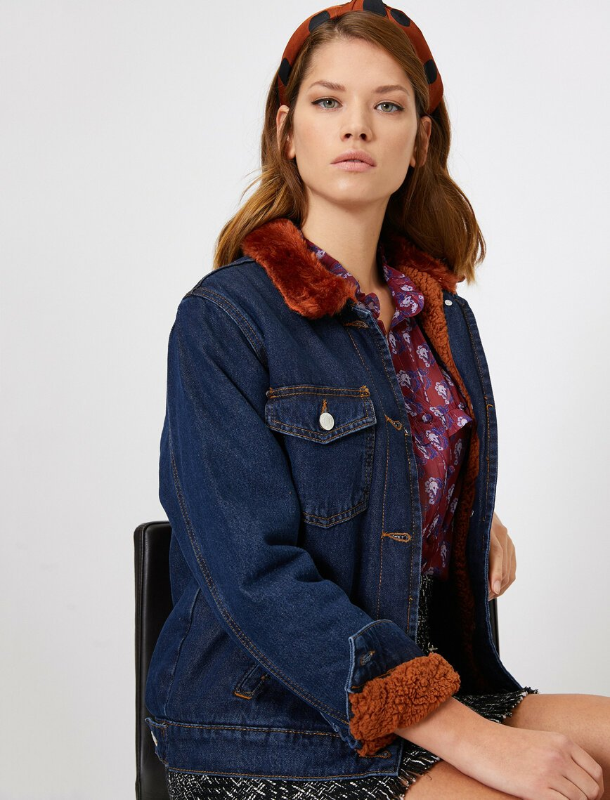 Faux Fur Lined Trucker Jacket in Dark Indigo