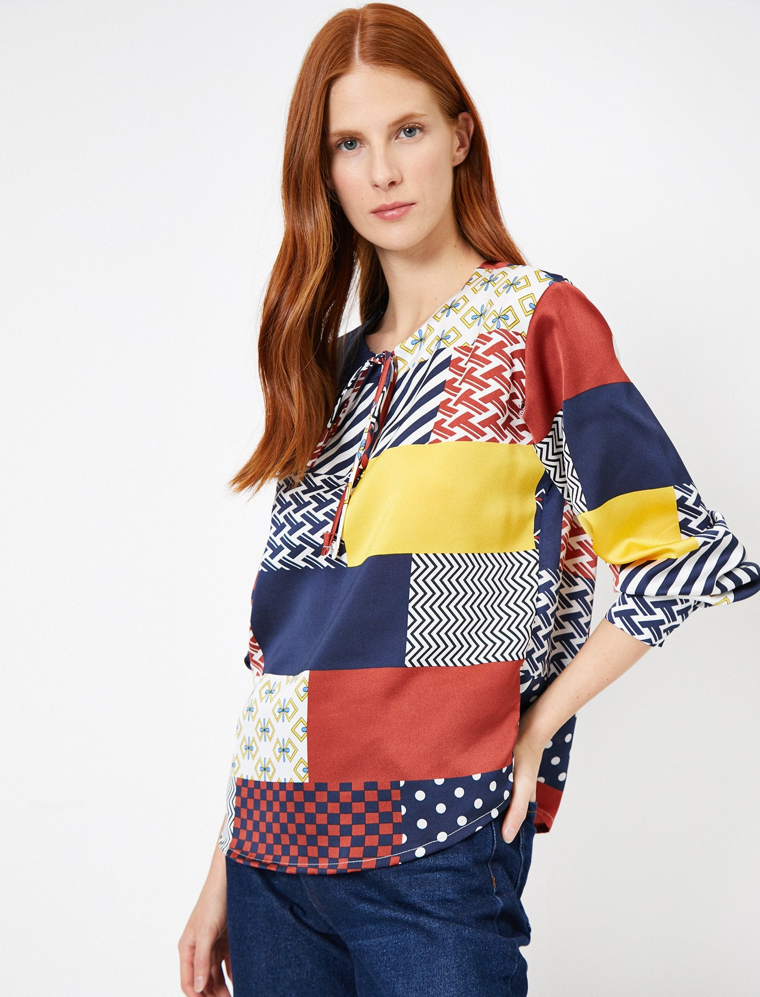 WOMEN BLOUSES NAVY PATTERNED