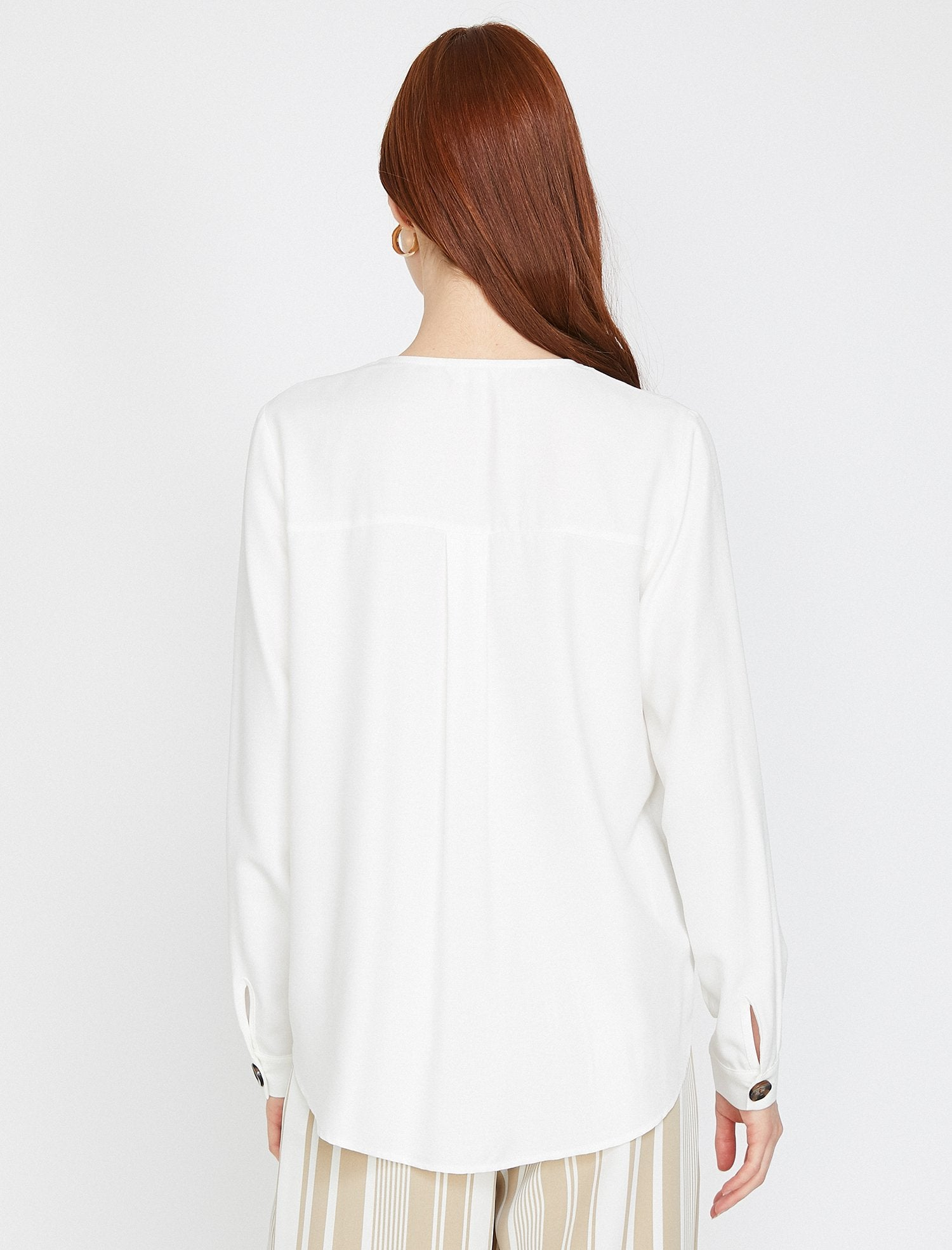 Long Sleeve V Neck Blouse in Cream