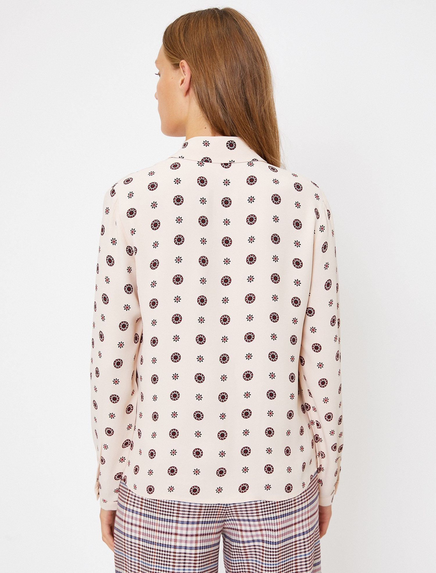 Patterned Button-Up Front Shirt in Merlot
