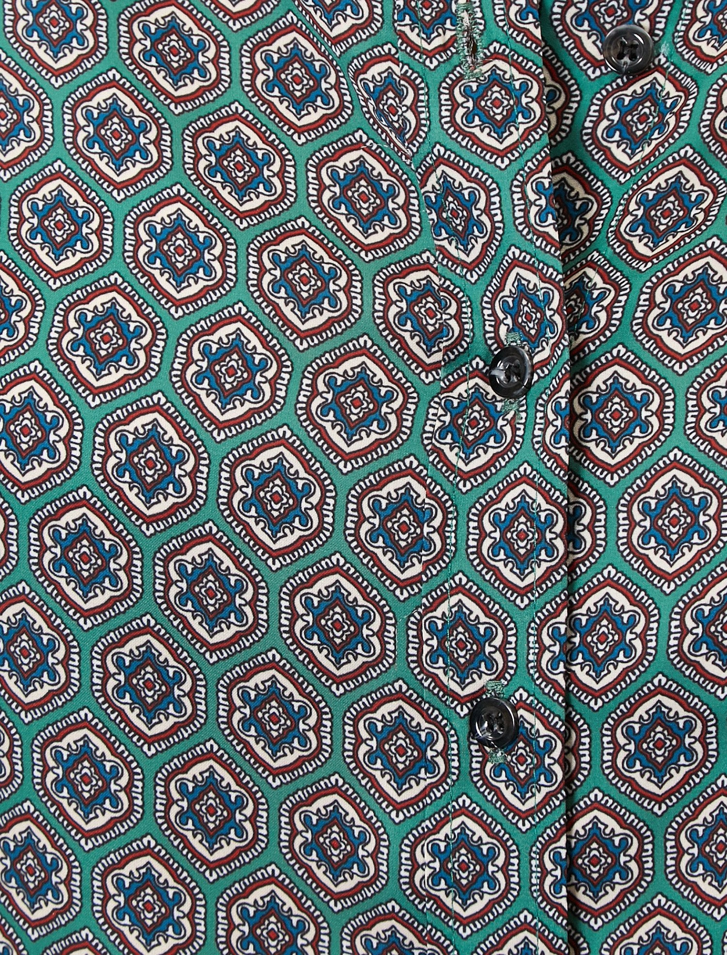 Patterned Button-Up Front Shirt in Green