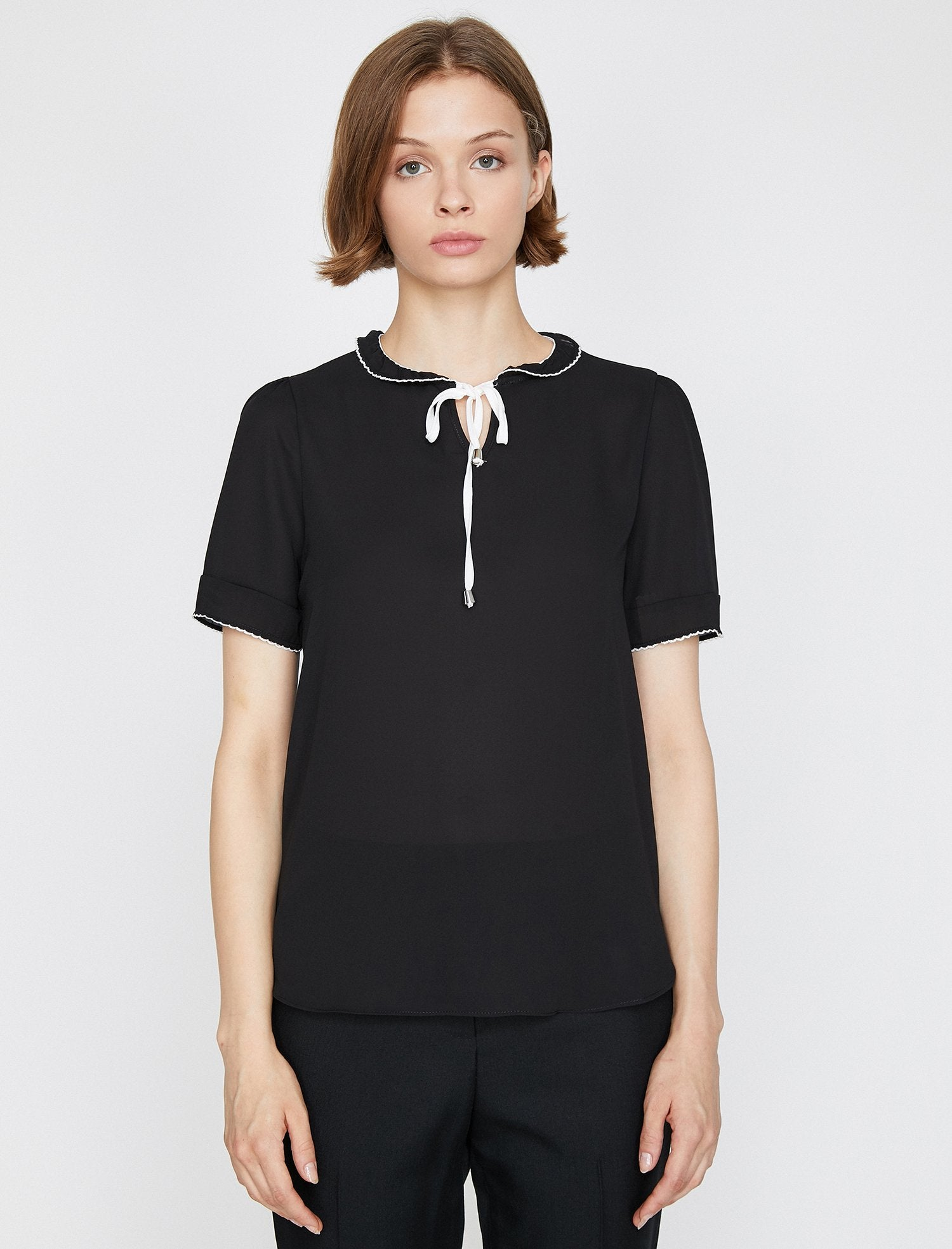 Contrast Stitching Blouse in Black