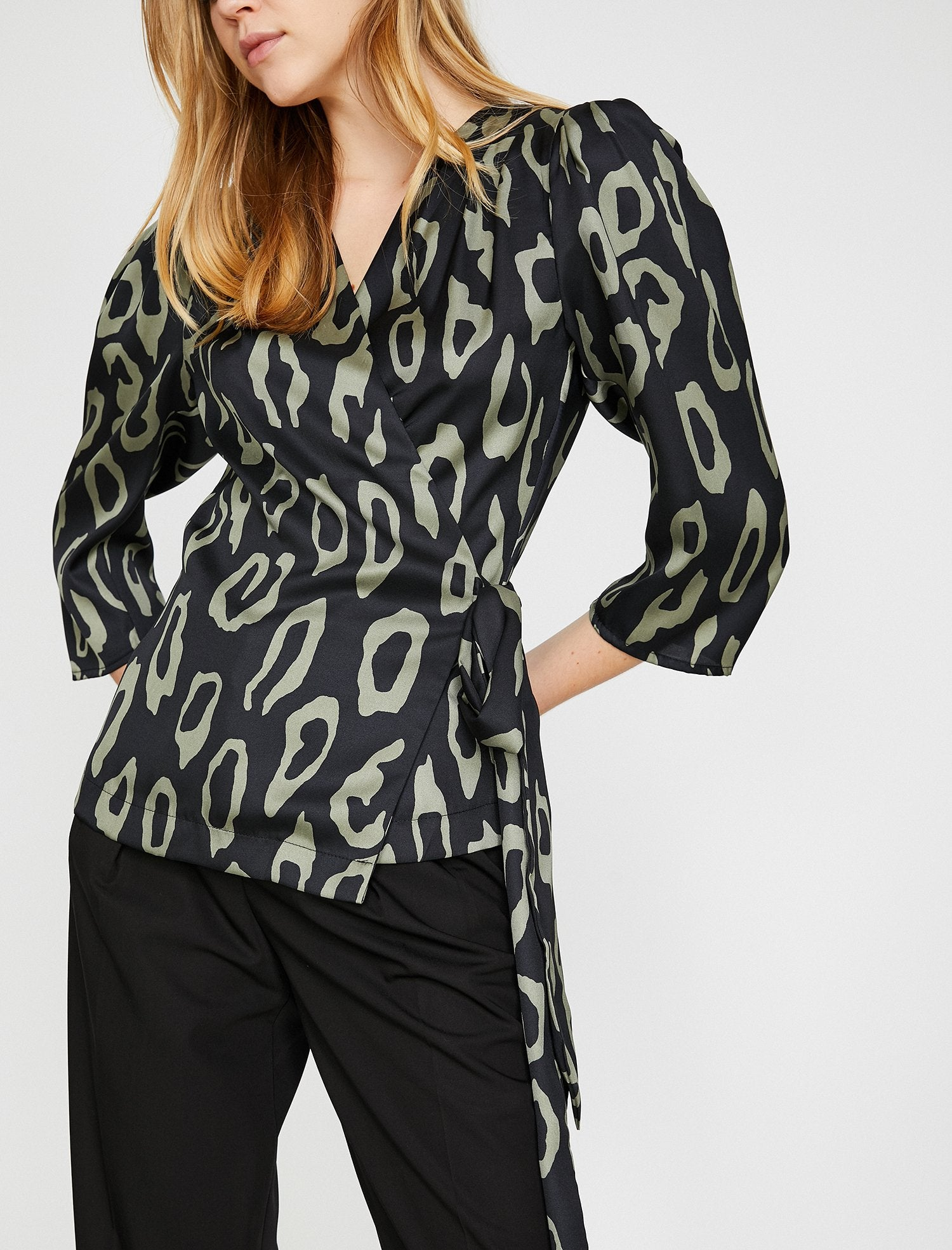 Patterned Wrap Front Blouse in Dark Green