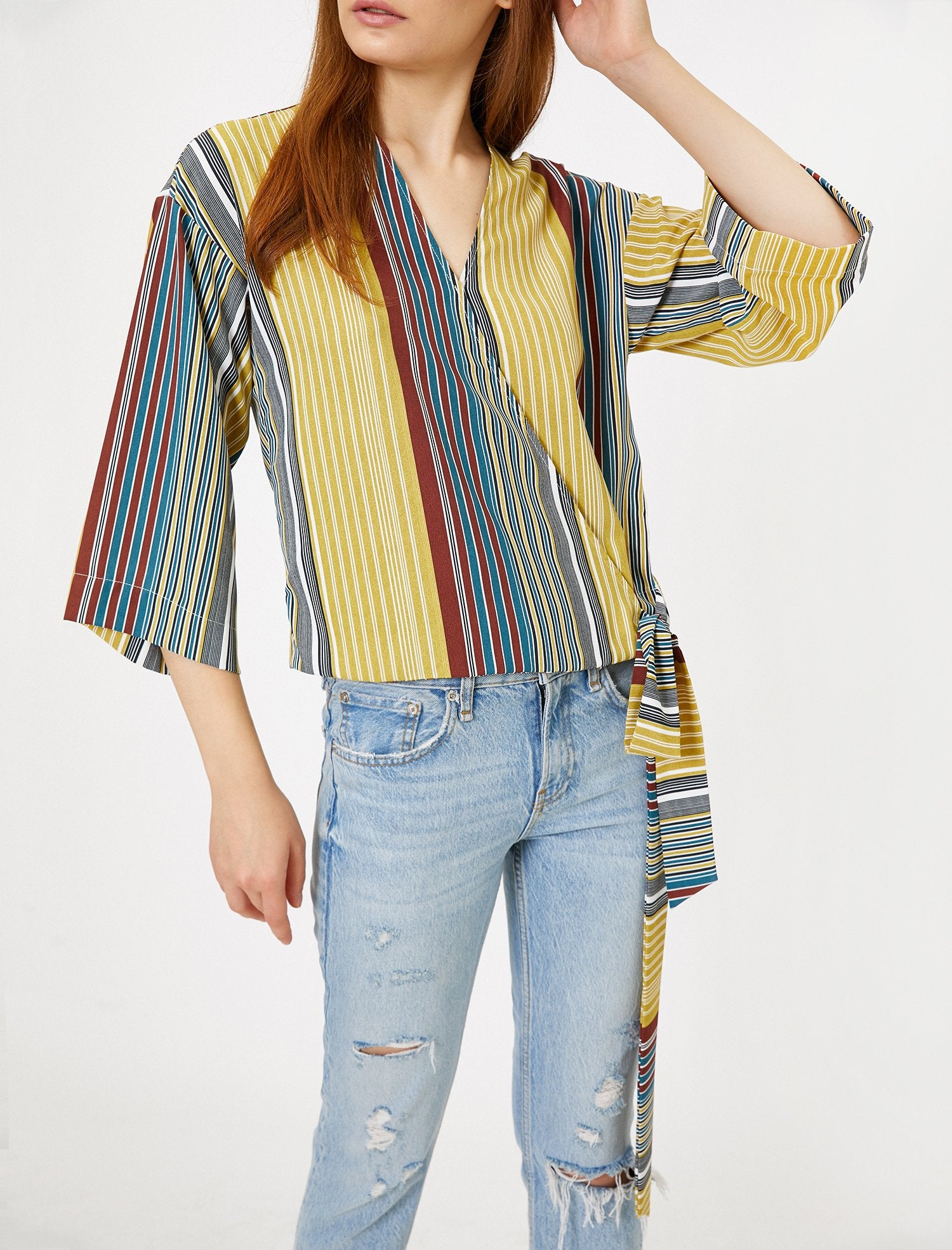 Multi-Striped Wrap Front Blouse in Green