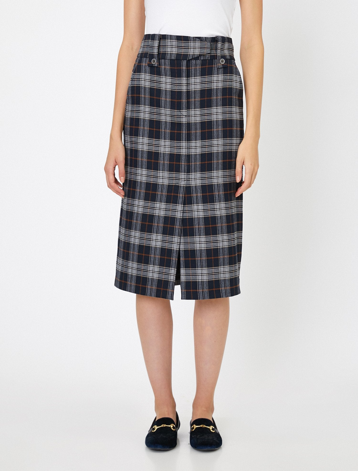 Plaid Pencil Skirt in Navy