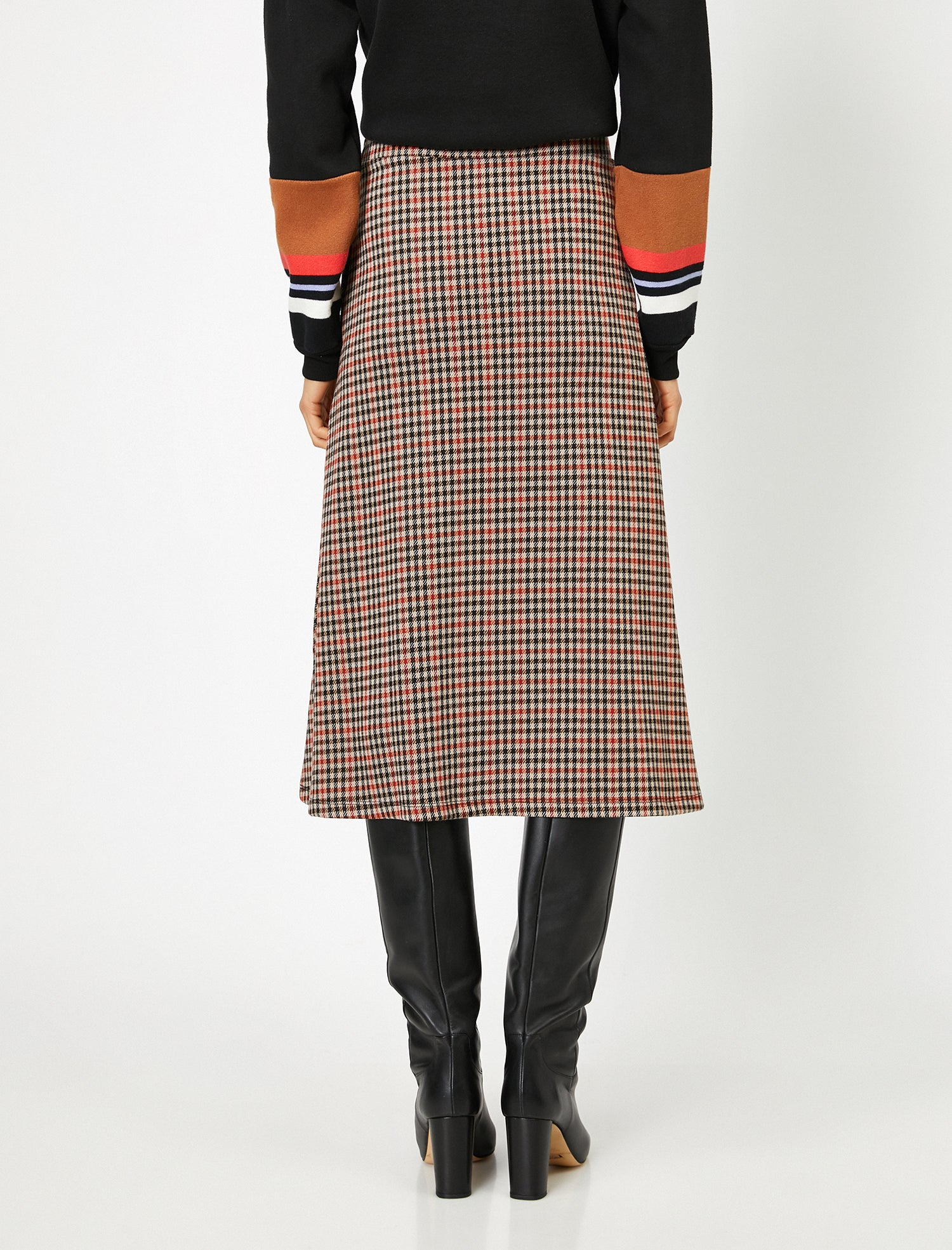 Mini-Check A-Line Skirt in Red