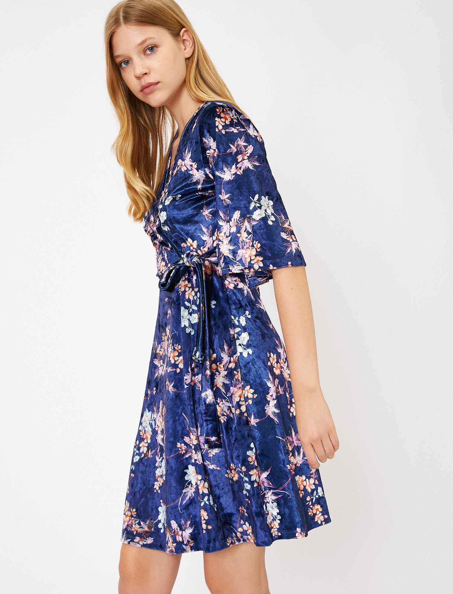 Printed Wrap Dress in Velvet Purple