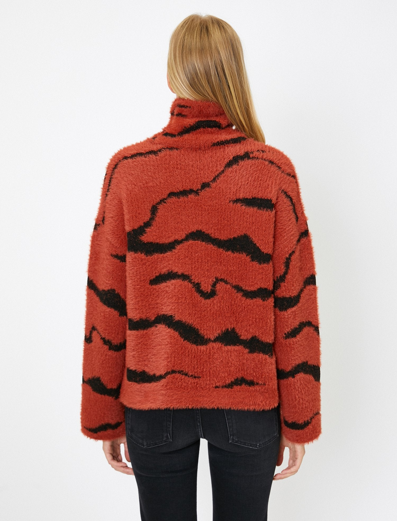 Patterned Turtle Neck Sweater in Red Clay