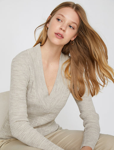 Ribbed Deep V Neck Sweater